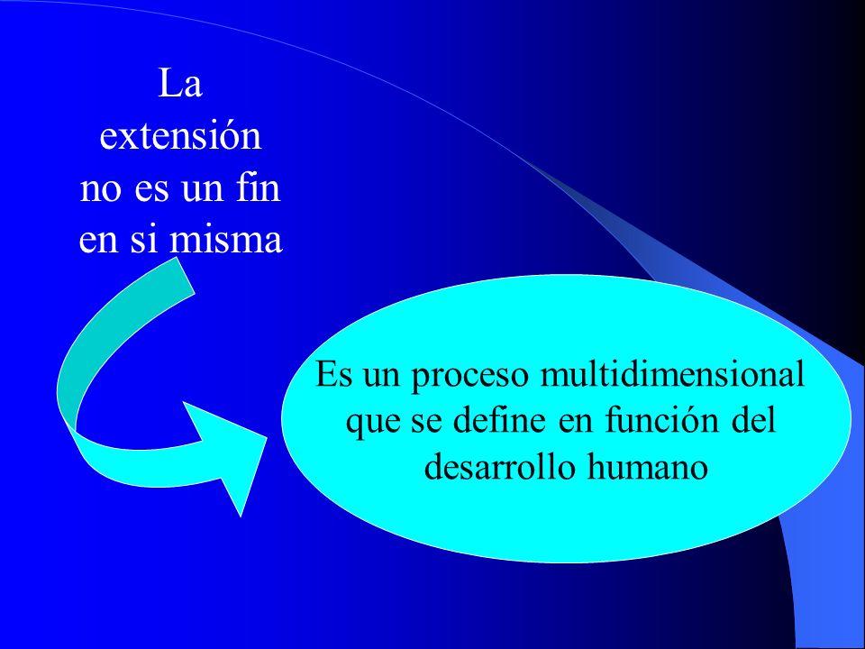 La extensión no es un fin en si misma Es un proceso multidimensional que se define en función del desarrollo humano