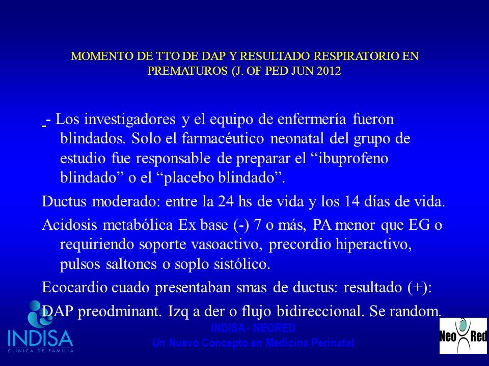 INDISA - NEORED Un Nuevo Concepto en Medicina Perinatal MOMENTO DE TTO DE DAP Y RESULTADO RESPIRATORIO EN PREMATUROS (J. OF PED JUN 2012 - Los investi