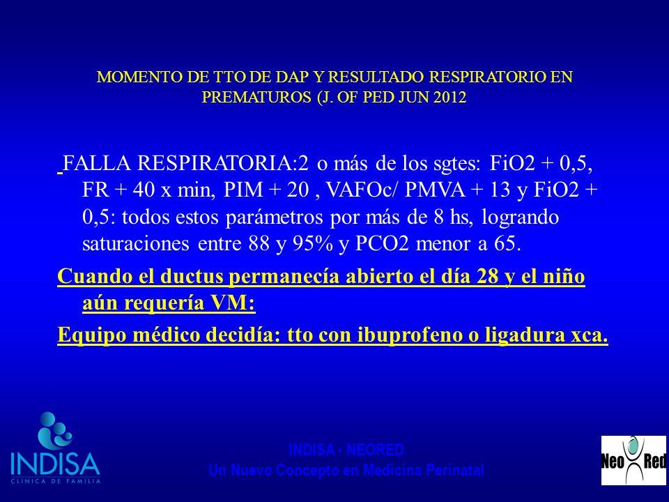 INDISA - NEORED Un Nuevo Concepto en Medicina Perinatal MOMENTO DE TTO DE DAP Y RESULTADO RESPIRATORIO EN PREMATUROS (J. OF PED JUN 2012 FALLA RESPIRA