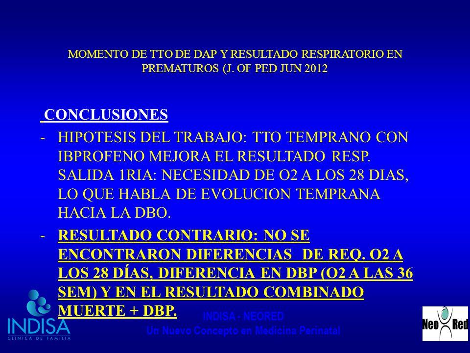 INDISA - NEORED Un Nuevo Concepto en Medicina Perinatal MOMENTO DE TTO DE DAP Y RESULTADO RESPIRATORIO EN PREMATUROS (J. OF PED JUN 2012 CONCLUSIONES