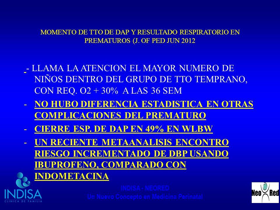 INDISA - NEORED Un Nuevo Concepto en Medicina Perinatal MOMENTO DE TTO DE DAP Y RESULTADO RESPIRATORIO EN PREMATUROS (J. OF PED JUN 2012 - LLAMA LA AT