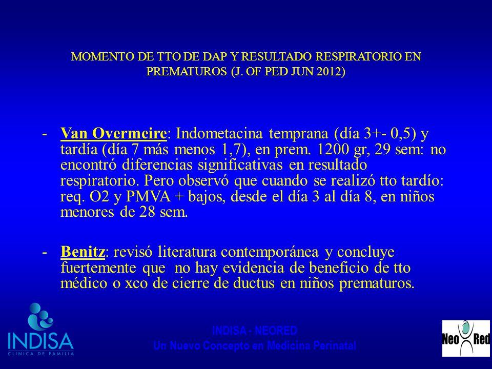 INDISA - NEORED Un Nuevo Concepto en Medicina Perinatal MOMENTO DE TTO DE DAP Y RESULTADO RESPIRATORIO EN PREMATUROS (J. OF PED JUN 2012) -Van Overmei