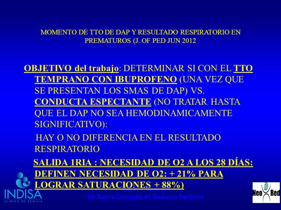 INDISA - NEORED Un Nuevo Concepto en Medicina Perinatal MOMENTO DE TTO DE DAP Y RESULTADO RESPIRATORIO EN PREMATUROS (J. OF PED JUN 2012 OBJETIVO del