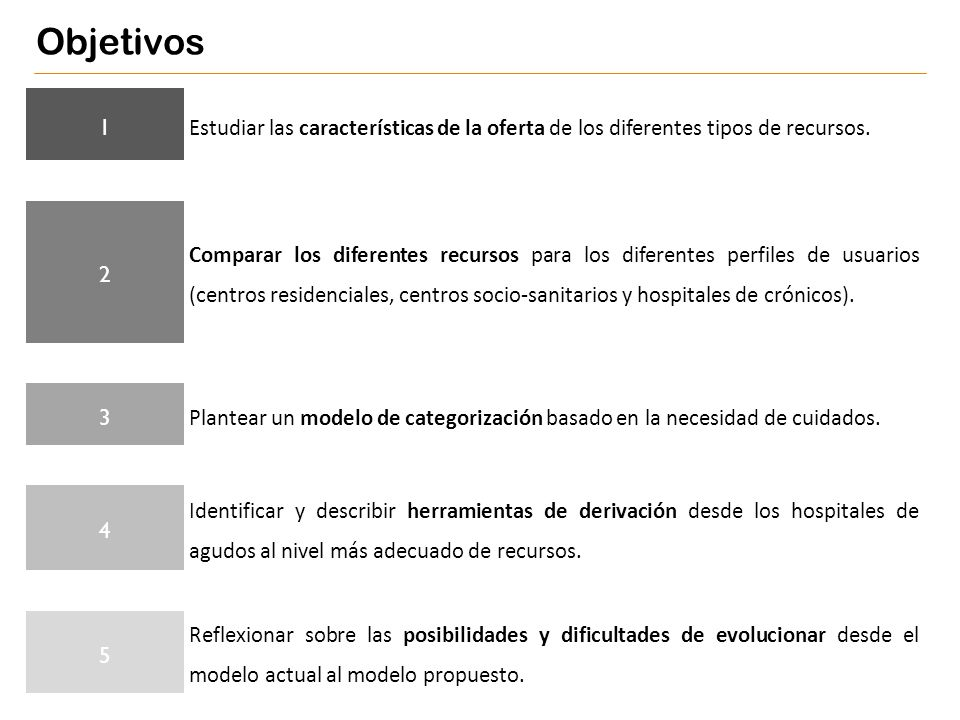 1 Estudiar las características de la oferta de los diferentes tipos de recursos. 2 Comparar los diferentes recursos para los diferentes perfiles de us
