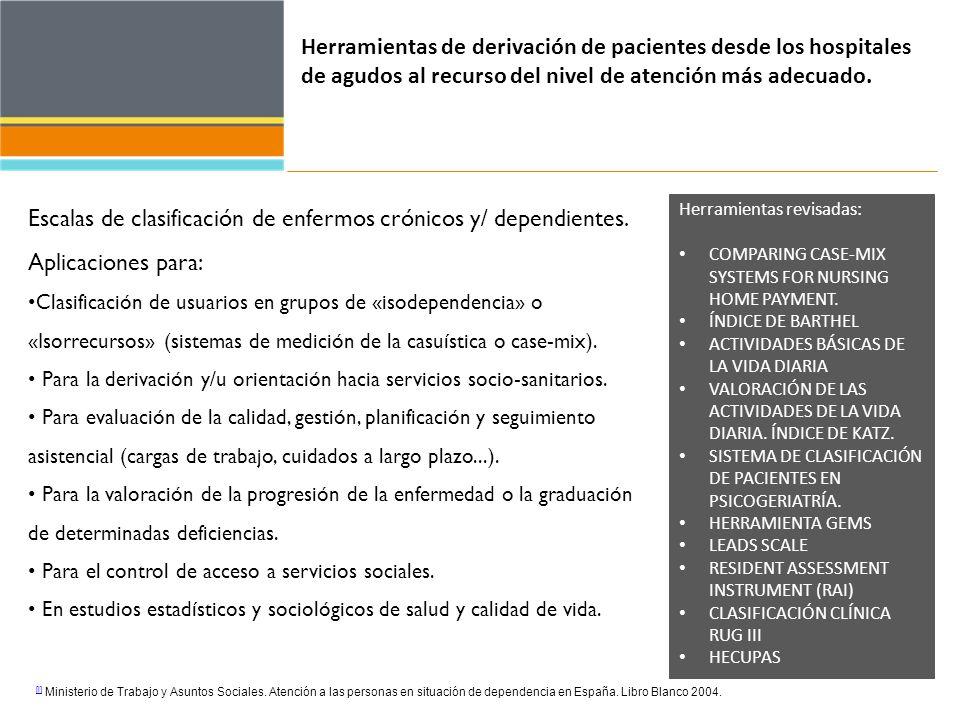 Herramientas de derivación de pacientes desde los hospitales de agudos al recurso del nivel de atención más adecuado. Escalas de clasificación de enfe
