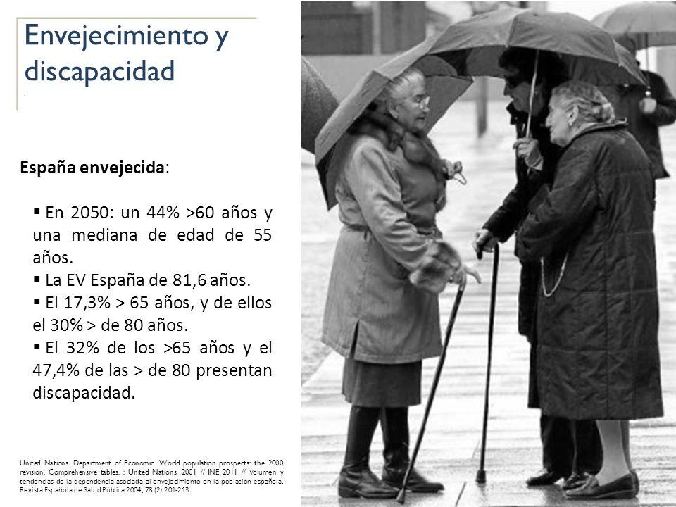 Envejecimiento y discapacidad. Envejecimiento y discapacidad. España envejecida: En 2050: un 44% >60 años y una mediana de edad de 55 años. La EV Espa