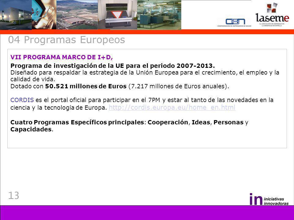 13 04 Programas Europeos VII PROGRAMA MARCO DE I+D, Programa de investigación de la UE para el periodo 2007-2013. Diseñado para respaldar la estrategi