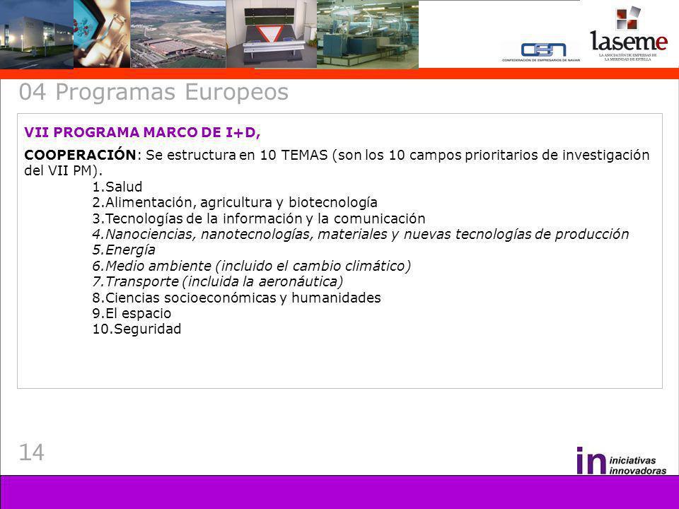 14 04 Programas Europeos VII PROGRAMA MARCO DE I+D, COOPERACIÓN: Se estructura en 10 TEMAS (son los 10 campos prioritarios de investigación del VII PM