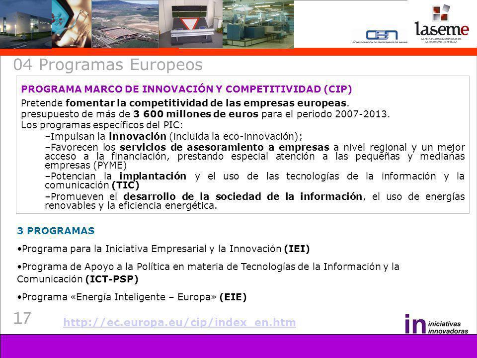 17 04 Programas Europeos PROGRAMA MARCO DE INNOVACIÓN Y COMPETITIVIDAD (CIP) Pretende fomentar la competitividad de las empresas europeas.