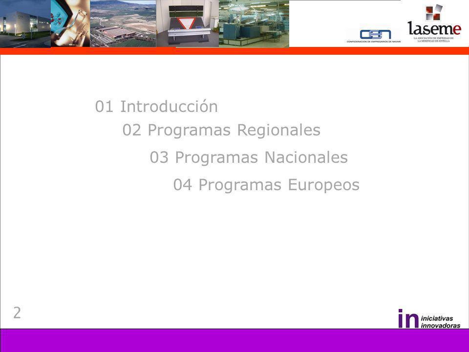 2 01 Introducción 02 Programas Regionales 03 Programas Nacionales 04 Programas Europeos