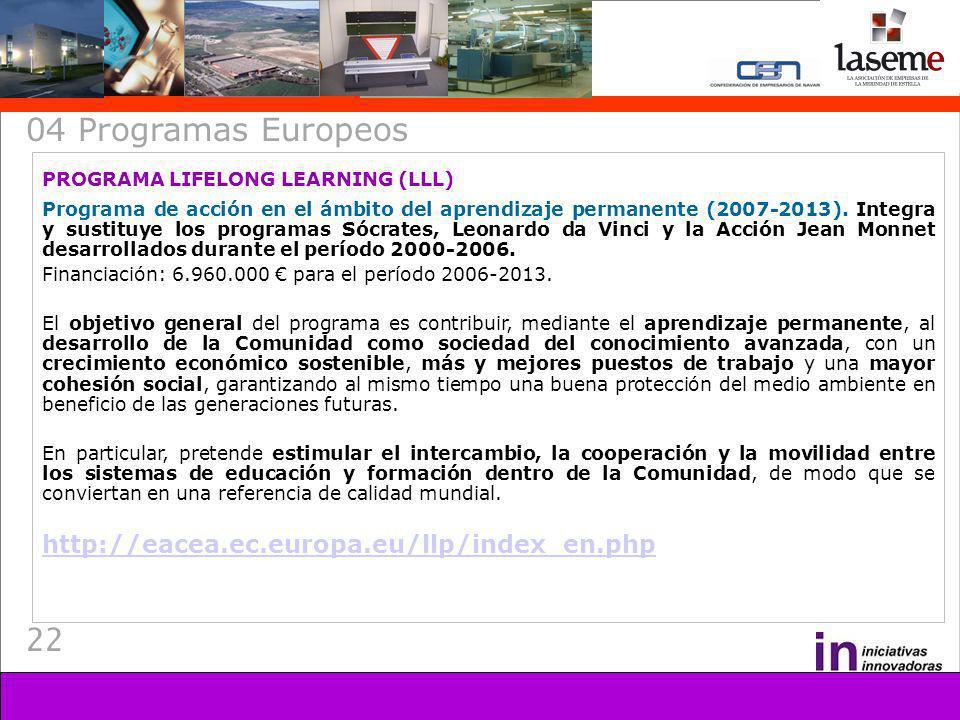 22 04 Programas Europeos PROGRAMA LIFELONG LEARNING (LLL) Programa de acción en el ámbito del aprendizaje permanente (2007-2013). Integra y sustituye