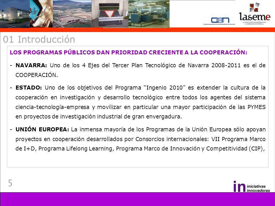 5 01 Introducción LOS PROGRAMAS PÚBLICOS DAN PRIORIDAD CRECIENTE A LA COOPERACIÓN: -NAVARRA: Uno de los 4 Ejes del Tercer Plan Tecnológico de Navarra 2008-2011 es el de COOPERACIÓN.