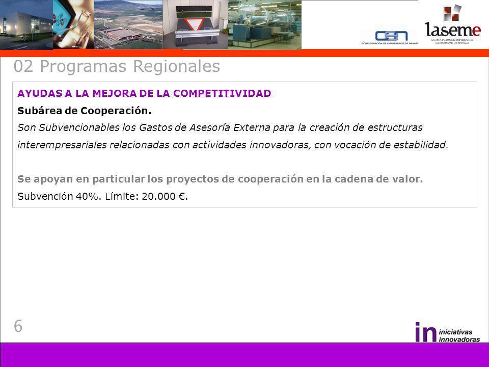 6 02 Programas Regionales AYUDAS A LA MEJORA DE LA COMPETITIVIDAD Subárea de Cooperación.
