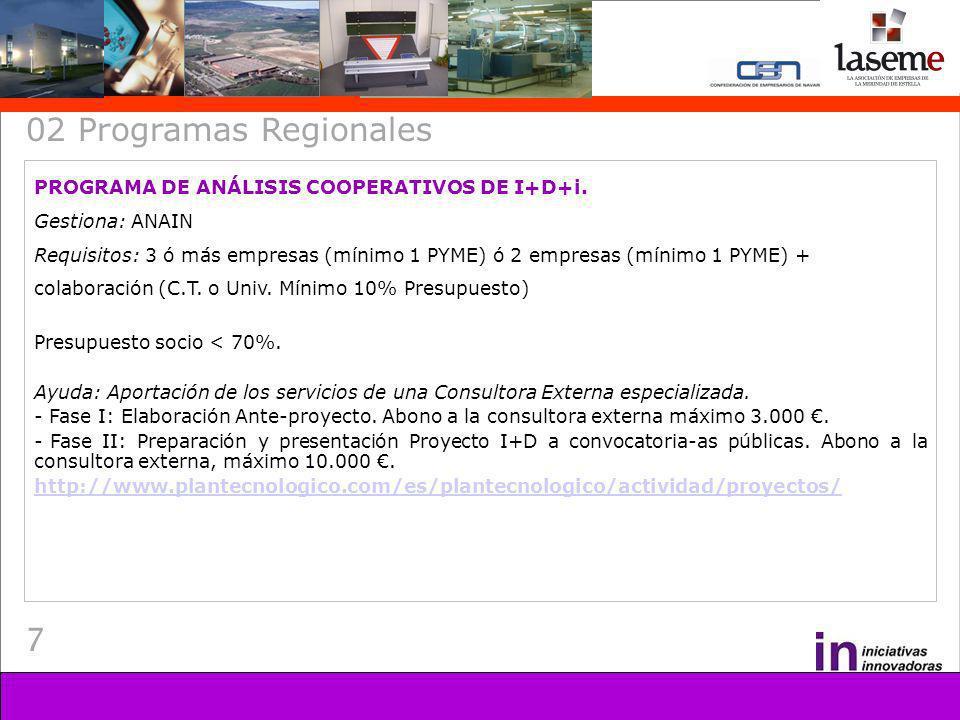 8 02 Programas Regionales PROGRAMA DE IDENTIFICACIÓN Y DEFINICIÓN DE PROYECTOS COOPERATIVOS INTERNACIONALES DE I+D+I Gestiona: ANAIN Requisitos: Empresas privadas con sede social en Navarra que cumplan: - Haber obtenido financiación nacional en proyectos de I+D en los años 2004 y/o siguientes pero no haber participado en programa internacionales de I+D.