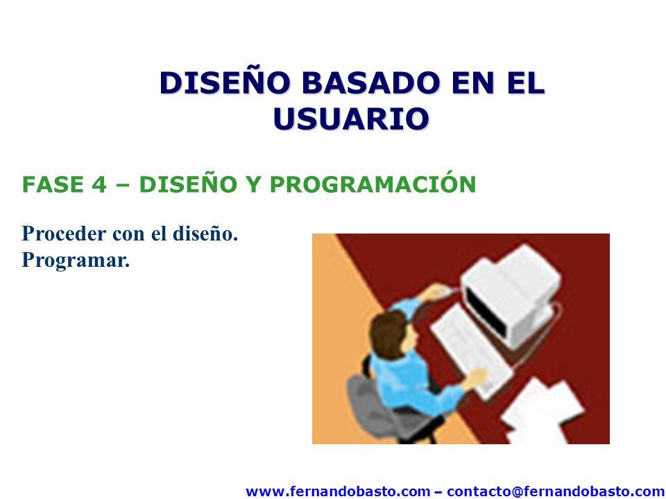 www.fernandobasto.com – contacto@fernandobasto.com FASE 4 – DISEÑO Y PROGRAMACIÓN Proceder con el diseño. Programar. DISEÑO BASADO EN EL USUARIO