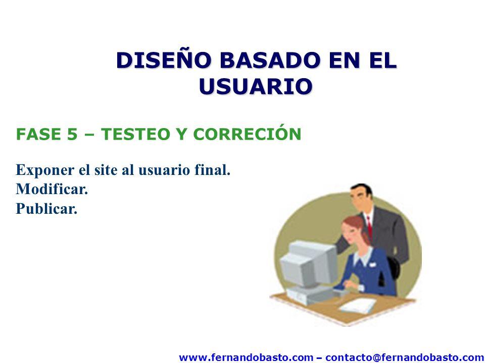 www.fernandobasto.com – contacto@fernandobasto.com FASE 5 – TESTEO Y CORRECIÓN Exponer el site al usuario final. Modificar. Publicar. DISEÑO BASADO EN