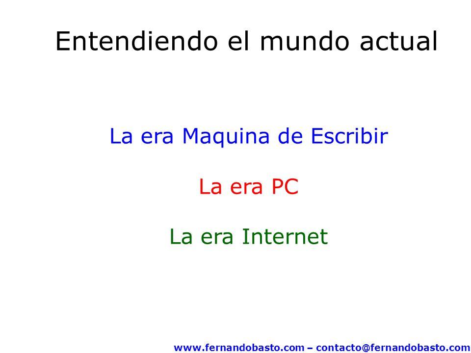 www.fernandobasto.com – contacto@fernandobasto.com Entendiendo el mundo actual La era Maquina de Escribir La era PC La era Internet