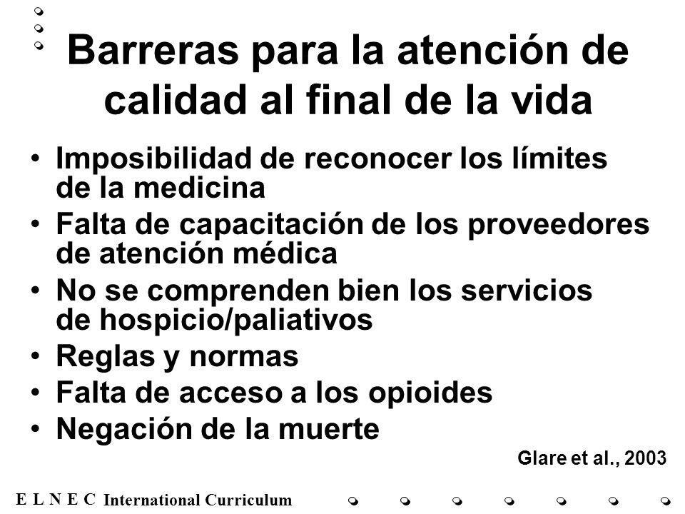 ENECL International Curriculum Barreras para la atención de calidad al final de la vida Imposibilidad de reconocer los límites de la medicina Falta de