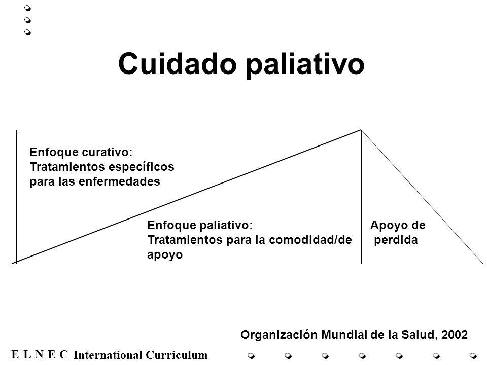 ENECL International Curriculum Cuidado paliativo Enfoque curativo: Tratamientos específicos para las enfermedades Enfoque paliativo: Tratamientos para