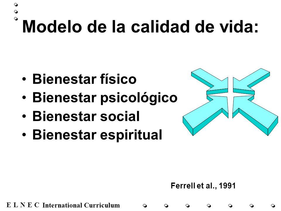 ENECL International Curriculum Modelo de la calidad de vida: Bienestar físico Bienestar psicológico Bienestar social Bienestar espiritual Ferrell et a