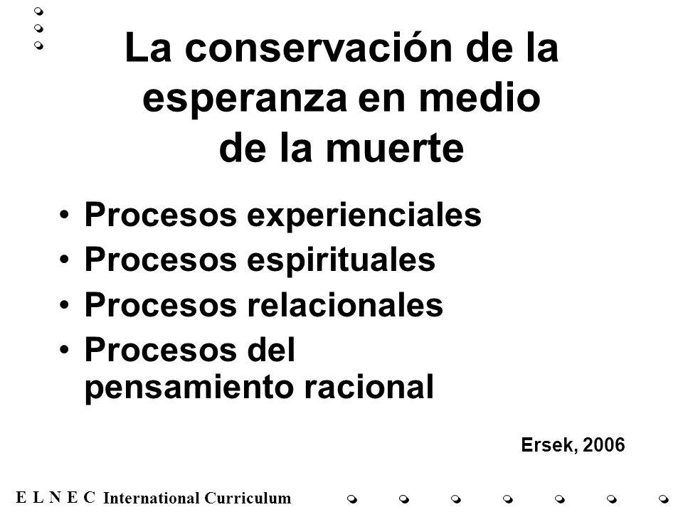 ENECL International Curriculum La conservación de la esperanza en medio de la muerte Procesos experienciales Procesos espirituales Procesos relacional