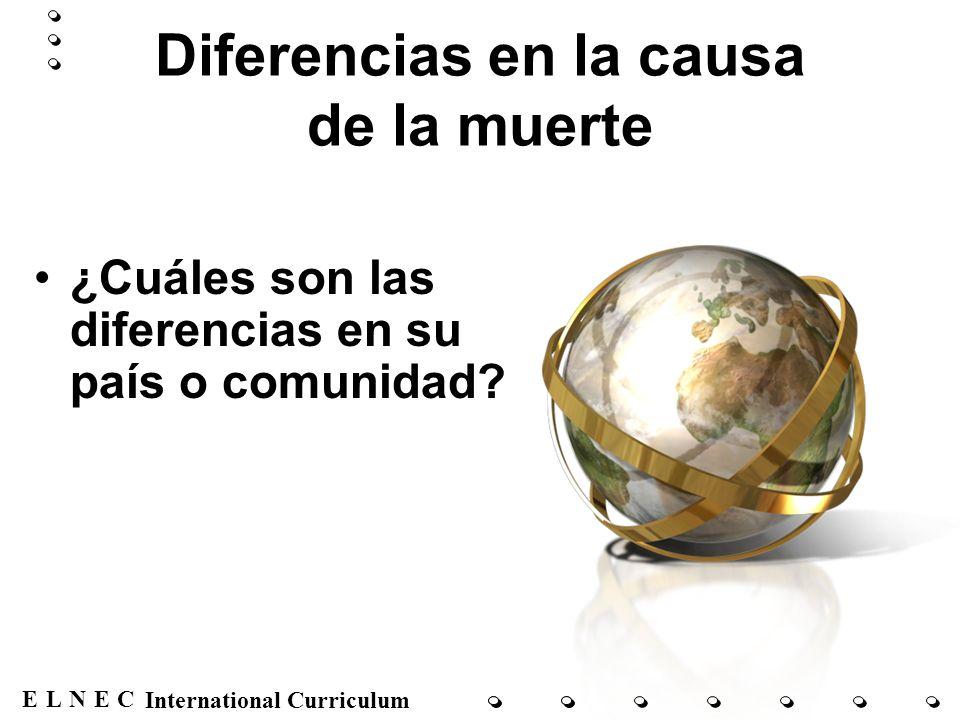 ENECL International Curriculum Diferencias en la causa de la muerte ¿Cuáles son las diferencias en su país o comunidad?