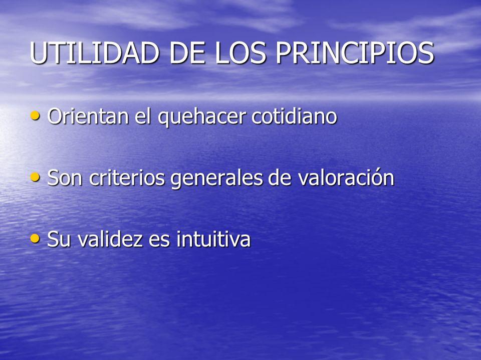 UTILIDAD DE LOS PRINCIPIOS Orientan el quehacer cotidiano Orientan el quehacer cotidiano Son criterios generales de valoración Son criterios generales