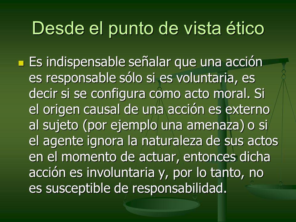 Desde el punto de vista ético Es indispensable señalar que una acción es responsable sólo si es voluntaria, es decir si se configura como acto moral.