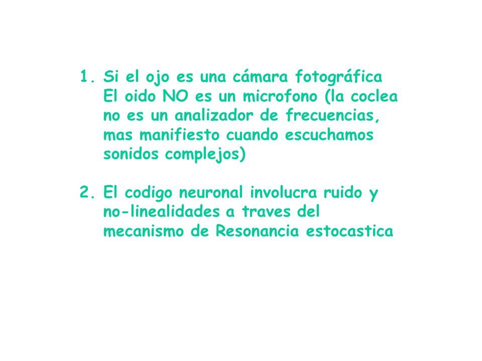 1.Si el ojo es una cámara fotográfica El oido NO es un microfono (la coclea no es un analizador de frecuencias, mas manifiesto cuando escuchamos sonidos complejos) 2.El codigo neuronal involucra ruido y no-linealidades a traves del mecanismo de Resonancia estocastica