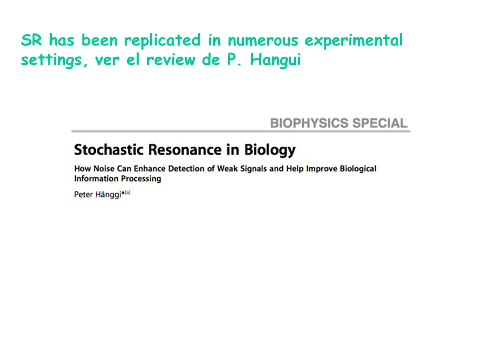 SR has been replicated in numerous experimental settings, ver el review de P. Hangui