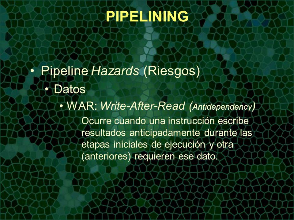 PIPELINING Pipeline Hazards (Riesgos) Datos WAR: Write-After-Read ( Antidependency ) Ocurre cuando una instrucción escribe resultados anticipadamente