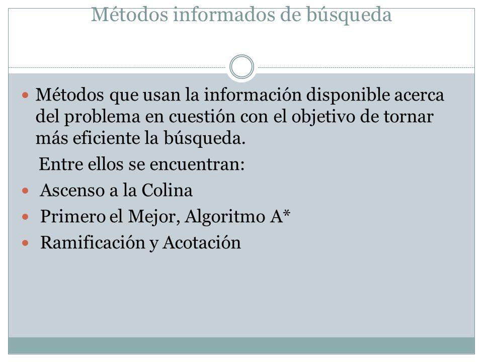 Métodos informados de búsqueda Métodos que usan la información disponible acerca del problema en cuestión con el objetivo de tornar más eficiente la b
