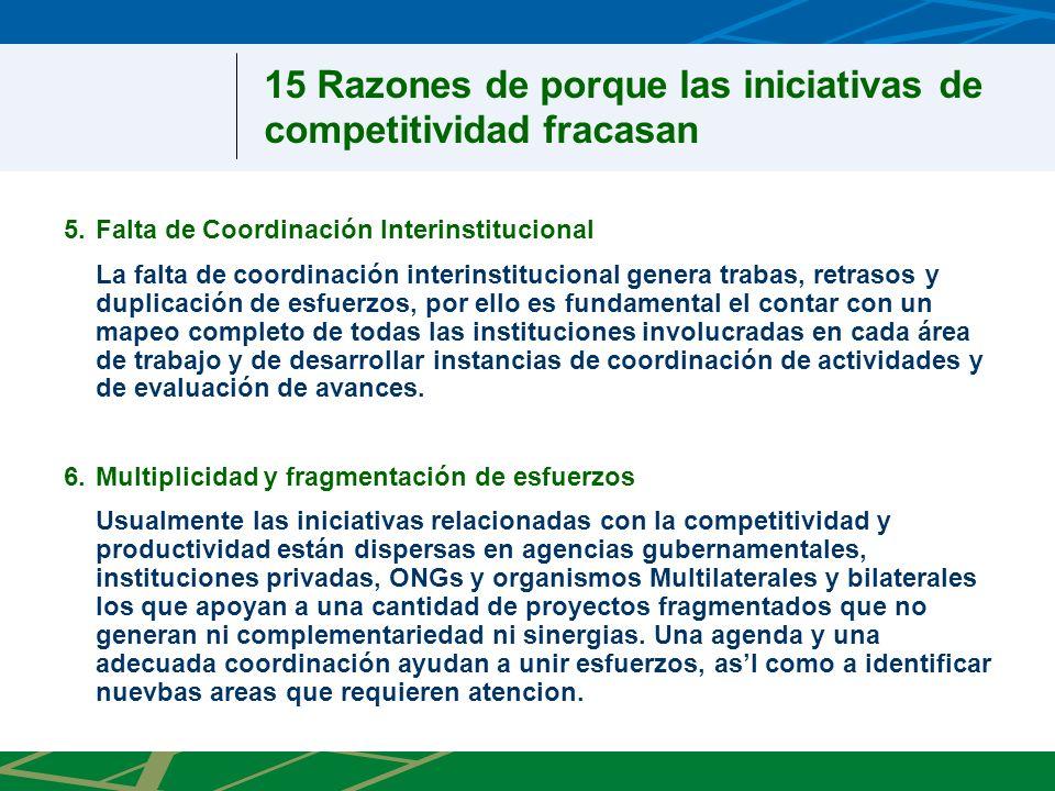 5.Falta de Coordinación Interinstitucional La falta de coordinación interinstitucional genera trabas, retrasos y duplicación de esfuerzos, por ello es