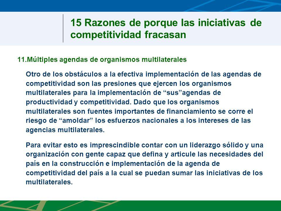 11.Múltiples agendas de organismos multilaterales Otro de los obstáculos a la efectiva implementación de las agendas de competitividad son las presiones que ejercen los organismos multilaterales para la implementación de susagendas de productividad y competitividad.