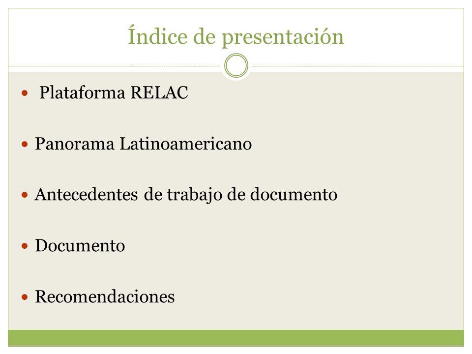 Índice de presentación Plataforma RELAC Panorama Latinoamericano Antecedentes de trabajo de documento Documento Recomendaciones