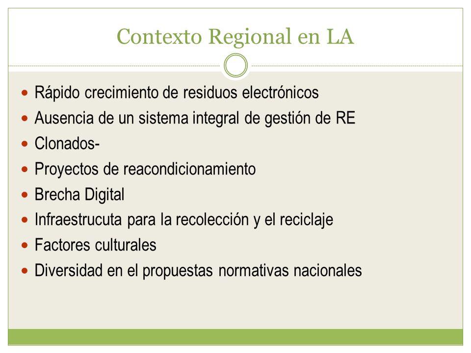 Contexto Regional en LA Rápido crecimiento de residuos electrónicos Ausencia de un sistema integral de gestión de RE Clonados- Proyectos de reacondicionamiento Brecha Digital Infraestrucuta para la recolección y el reciclaje Factores culturales Diversidad en el propuestas normativas nacionales