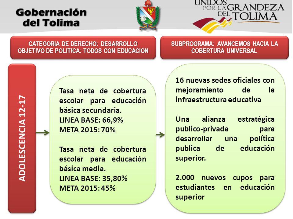 Tasa neta de cobertura escolar para educación básica secundaria. LINEA BASE: 66,9% META 2015: 70% Tasa neta de cobertura escolar para educación básica