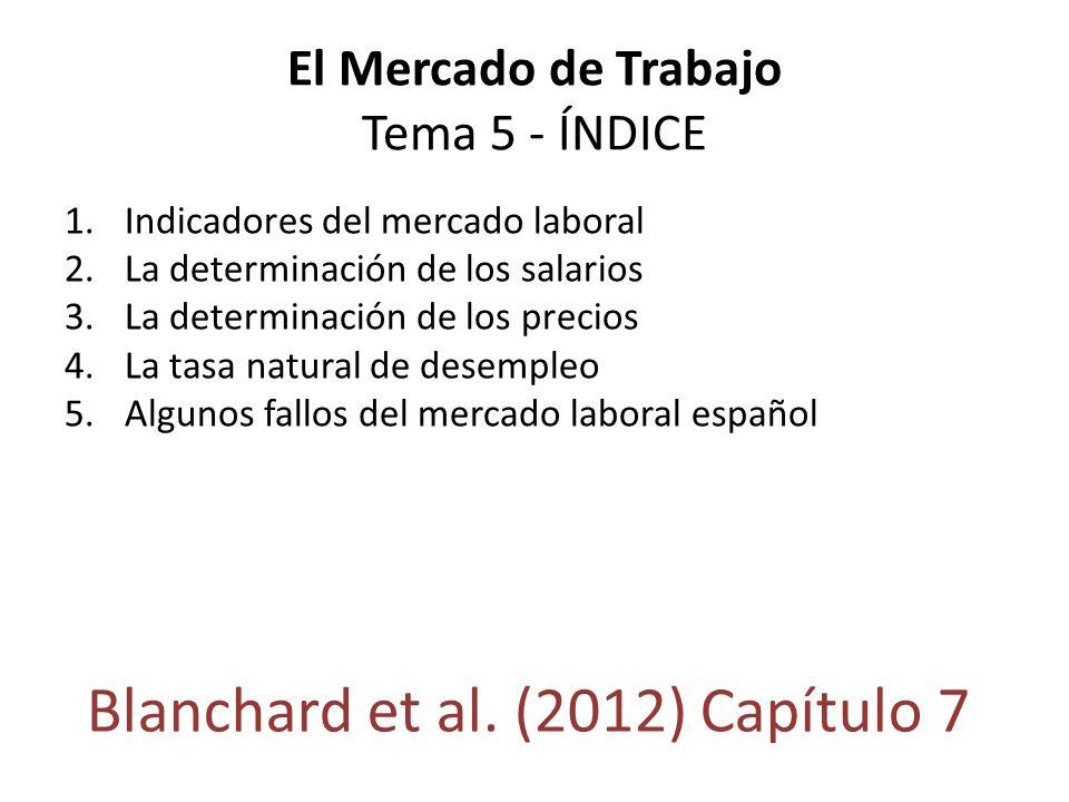 El Mercado de Trabajo Tema 5 - ÍNDICE 1.Indicadores del mercado laboral 2.La determinación de los salarios 3.La determinación de los precios 4.La tasa