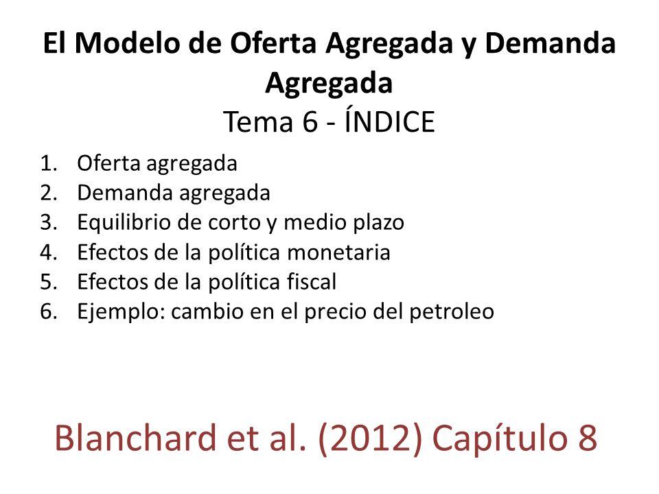 El Modelo de Oferta Agregada y Demanda Agregada Tema 6 - ÍNDICE 1.Oferta agregada 2.Demanda agregada 3.Equilibrio de corto y medio plazo 4.Efectos de