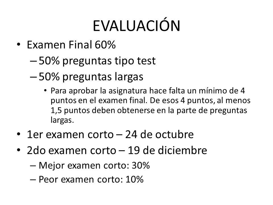 EVALUACIÓN Examen Final 60% – 50% preguntas tipo test – 50% preguntas largas Para aprobar la asignatura hace falta un mínimo de 4 puntos en el examen