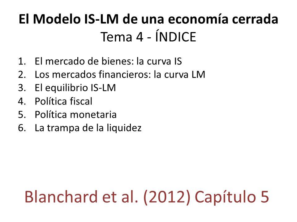 El Modelo IS-LM de una economía cerrada Tema 4 - ÍNDICE 1.El mercado de bienes: la curva IS 2.Los mercados financieros: la curva LM 3.El equilibrio IS