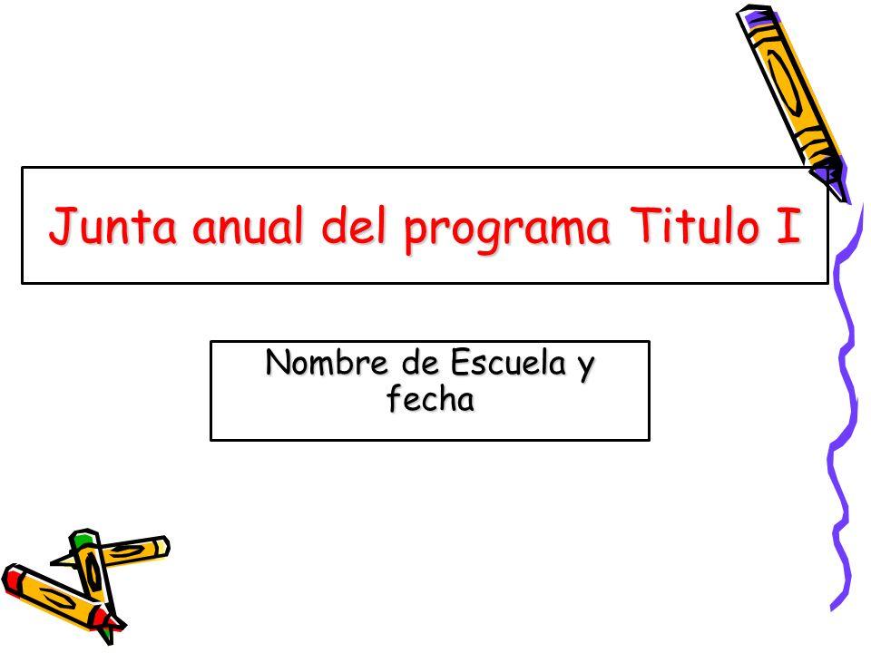 Junta anual del programa Titulo I Nombre de Escuela y fecha