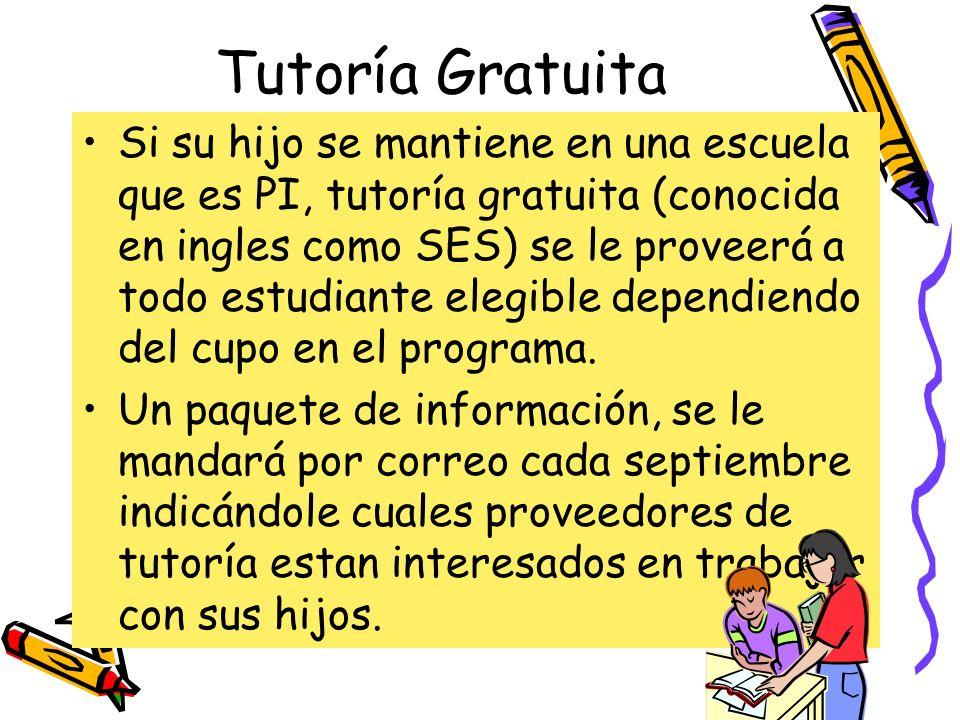 Tutoría Gratuita Si su hijo se mantiene en una escuela que es PI, tutoría gratuita (conocida en ingles como SES) se le proveerá a todo estudiante eleg