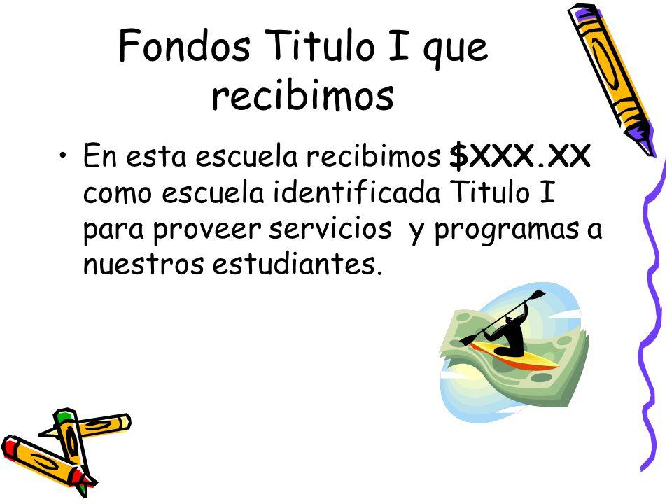 Fondos Titulo I que recibimos En esta escuela recibimos $XXX.XX como escuela identificada Titulo I para proveer servicios y programas a nuestros estud