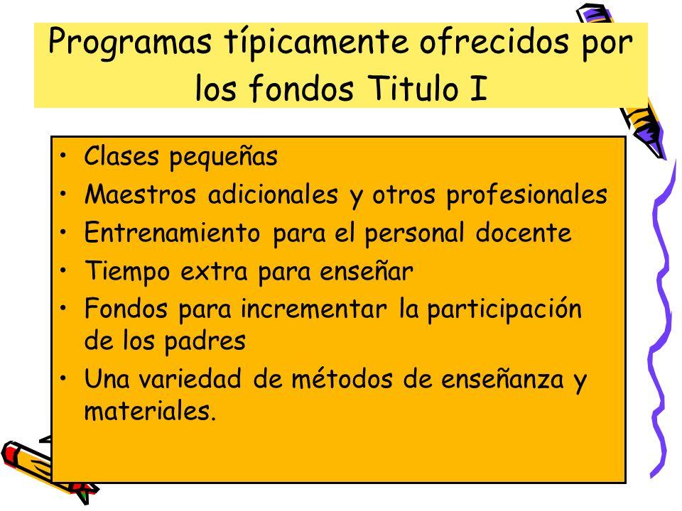 Programas típicamente ofrecidos por los fondos Titulo I Clases pequeñas Maestros adicionales y otros profesionales Entrenamiento para el personal doce