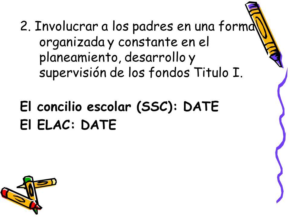 2. Involucrar a los padres en una forma organizada y constante en el planeamiento, desarrollo y supervisión de los fondos Titulo I. El concilio escola