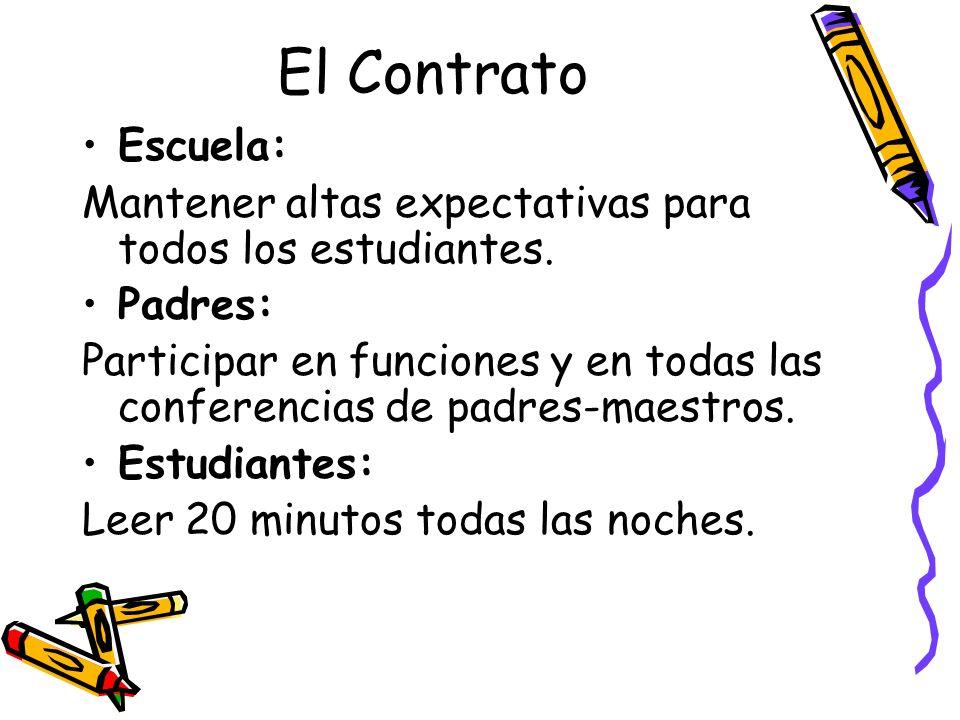El Contrato Escuela: Mantener altas expectativas para todos los estudiantes. Padres: Participar en funciones y en todas las conferencias de padres-mae