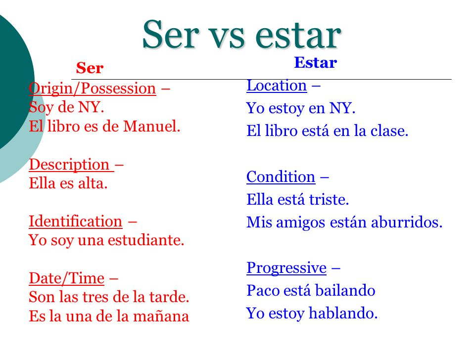 Ser vs estar Ser Origin/Possession – Soy de NY. El libro es de Manuel. Description – Ella es alta. Identification – Yo soy una estudiante. Date/Time –