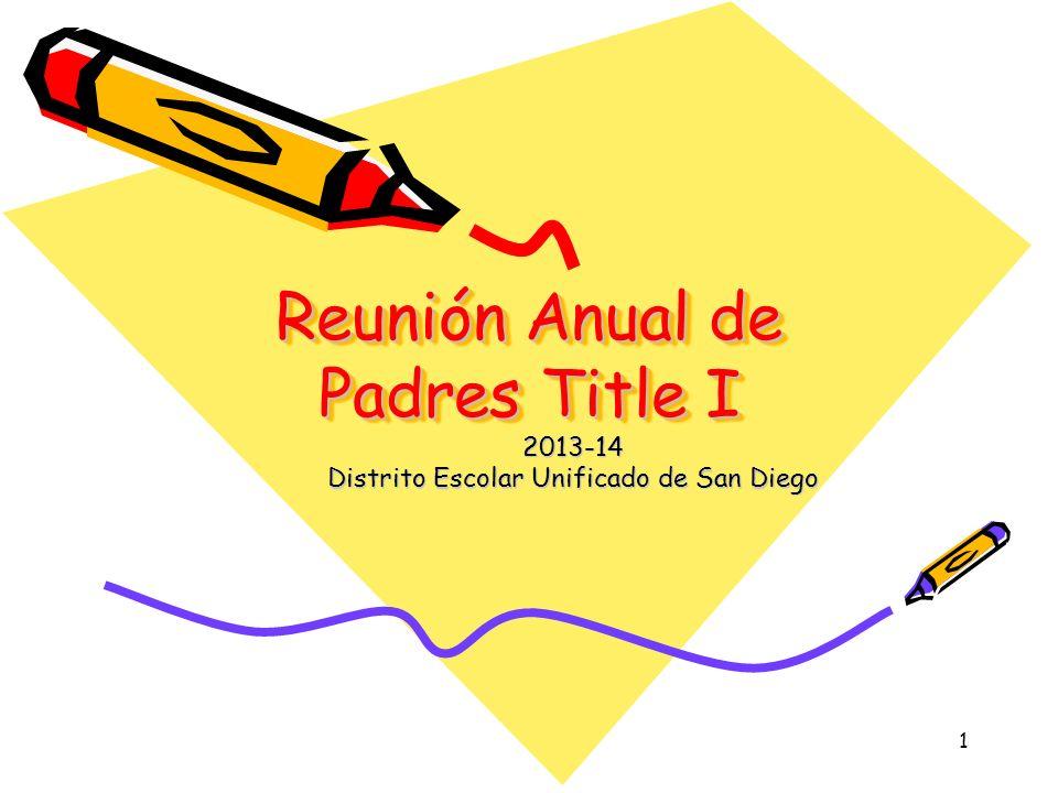 1 Reunión Anual de Padres Title I Reunión Anual de Padres Title I 2013-14 Distrito Escolar Unificado de San Diego