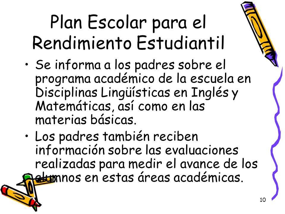 10 Plan Escolar para el Rendimiento Estudiantil Se informa a los padres sobre el programa académico de la escuela en Disciplinas Lingüísticas en Inglé